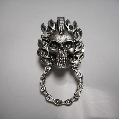 BIKER PIN *******  SKULL SUNGLASS HOLDER *******  GREAT PIN PEWTER