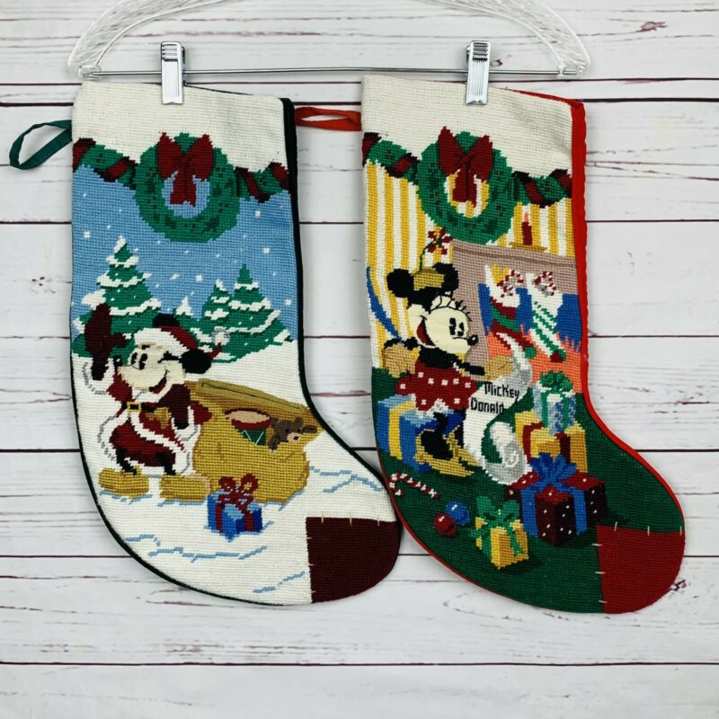 2 Vintage Disney Mickey & Co. Needlepoint Christmas Stocking Minnie Mickey Set