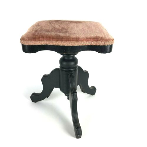 Charming Antique Vintage Piano Stool Pink Velour Victorian Style