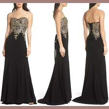 nwt xscape corset back embellished strapless gown in black