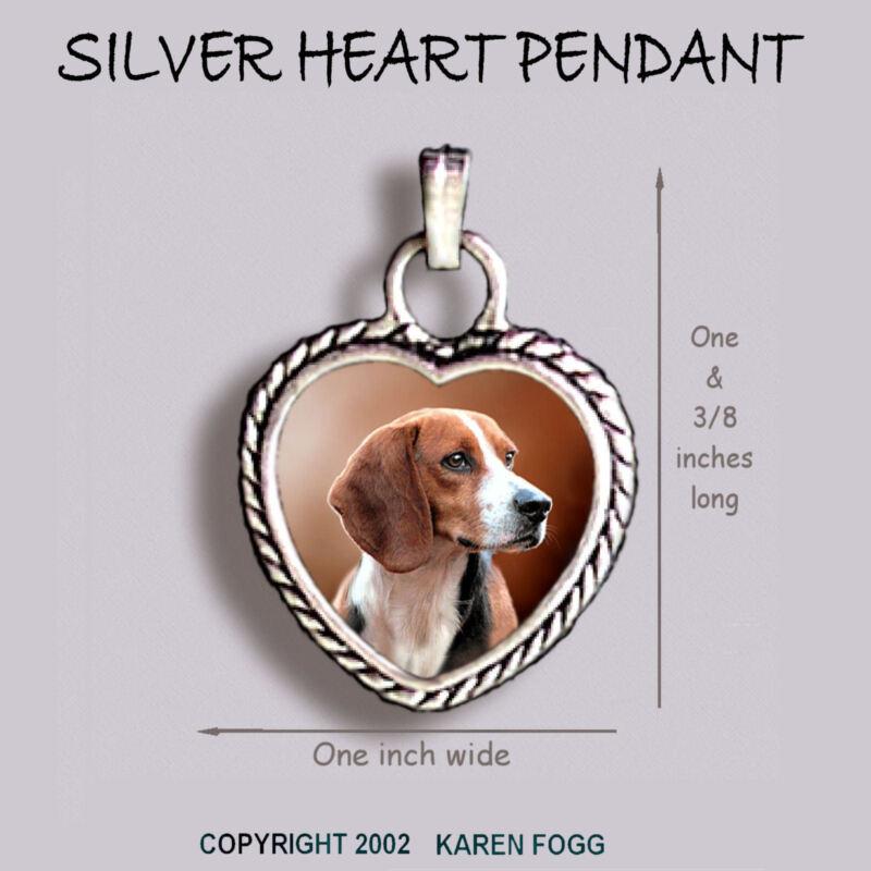 BEAGLE DOG - Ornate HEART PENDANT Tibetan Silver
