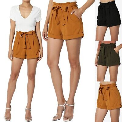 Belted Stretch-shorts (TheMogan Belted Paperbag High Waist Stretch Crepe Relaxed Cuffed Trouser Shorts)