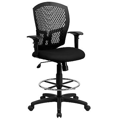 Flash Mid-back Designer Back Drafting Stool With Padded Fabric Seat And Arms