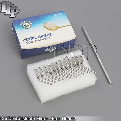 New Premium 12 X Dental Mouth Mirror Heads 5 Plain Free Handle