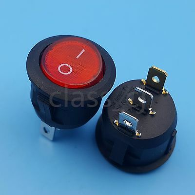 5pcs Red Lamp 3pin Round On-off Rocker Switch 21mm Panel Mount 6a250vac