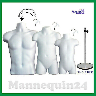 3 Mannequins Male Child Toddler Torso Dress Forms Set 3 Hangers 1 Stand