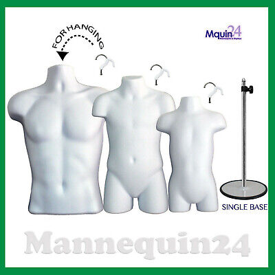 3 Mannequins Male Child Toddler Torso Dress Forms Set 3 Hangers 1 Stand