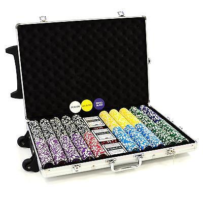 Pokerkoffer 1000 LASER Pokerchips im Trolley Pokerset