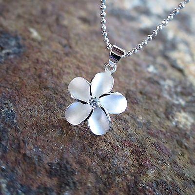 (15mm Plumeria Flower Hawaiian Genuine Sterling Silver Pendant Necklace #SP43701)