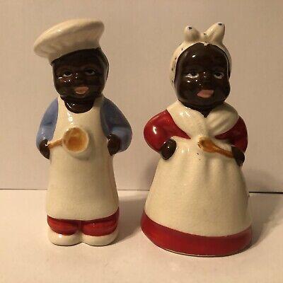"Chef (5x2.25"") & Mammy (5x2.75"") Salt & Pepper Shakers Mid-Century Vintage"