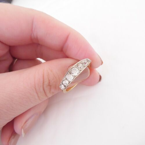 18ct gold 1.1/4ct old cut diamond ring, art deco 7 stone