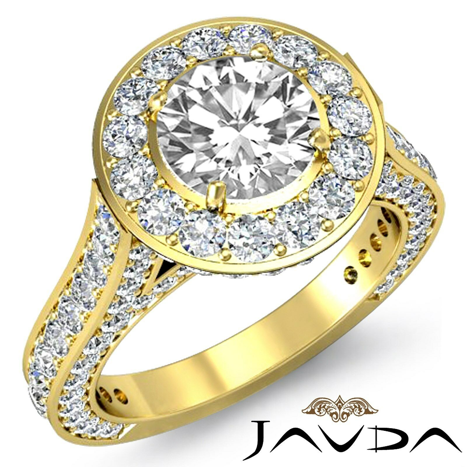 Classic 4 Prong Circa Halo Round Diamond Engagement Wedding Ring GIA I SI1 3.6Ct
