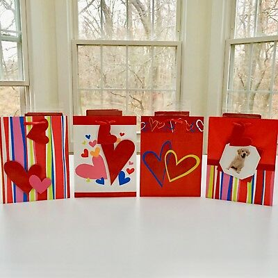 $14~NEW 4 Valentines Day 3-D Shopping Gift Bags Each w/Red Tissue+Ribbon Handles](Valentines Day Gift Bags)