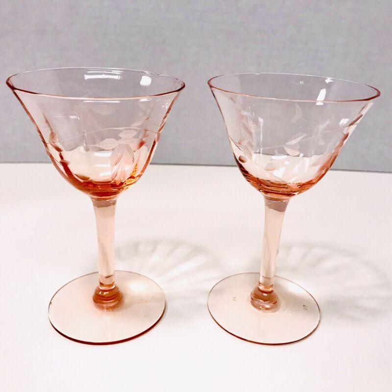 Vintage Floral Etched Pink Depression Glass Cordials Stemware Set Of 2