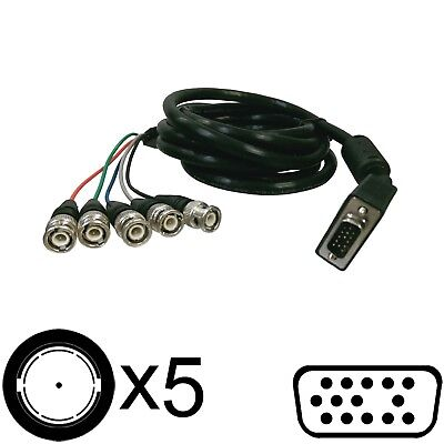 VGA BNC Cable 10' HD 15-pin to Analog 5 BNC Component RGB Video #92793~4 Bnc Male Rgb Monitor Cable