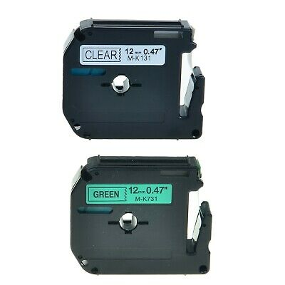 2pk Mk131 Mk731 Black On Cleargreen Label Tape For Brother P-touch Pt-55s 12