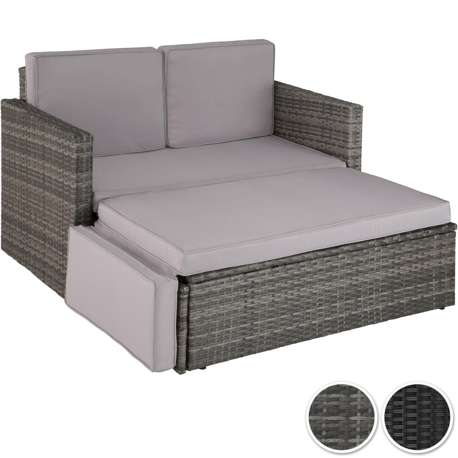 Garden Furniture - Rattan Lounge Sofa Double Chair Furniture Stool Set Cushion Garden Seating Patio