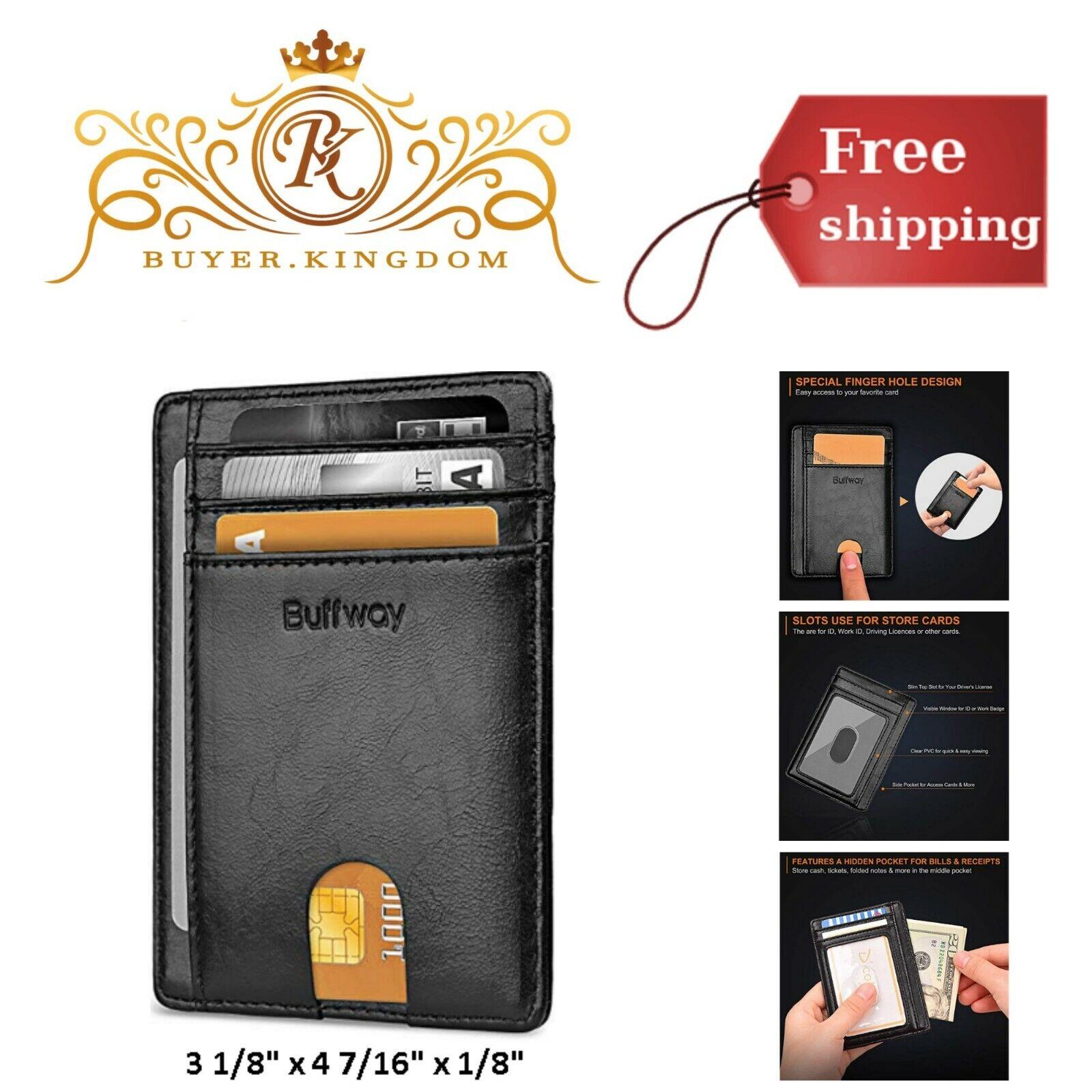 Modern Trendy Slim Minimalist RFID Front Pocket Men Women Le