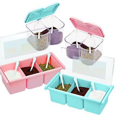 Acrylic Spice Seasoning Container Storage Dispenser Organizer Pink Blue Set of 4 Home & Garden