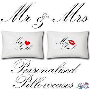 Personalised Mr And Mrs Pillow Cases   Two Items   Wedding   Add Name   Gifts