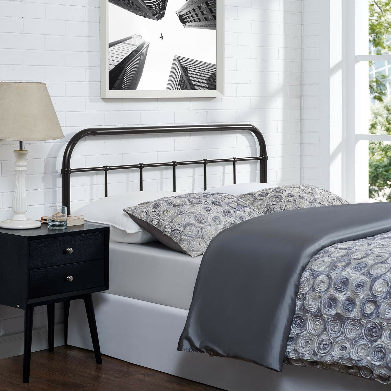Details About Bedroom Furniture Rustic Modern Farmhouse Brown Steel Metal Queen Size Headboard