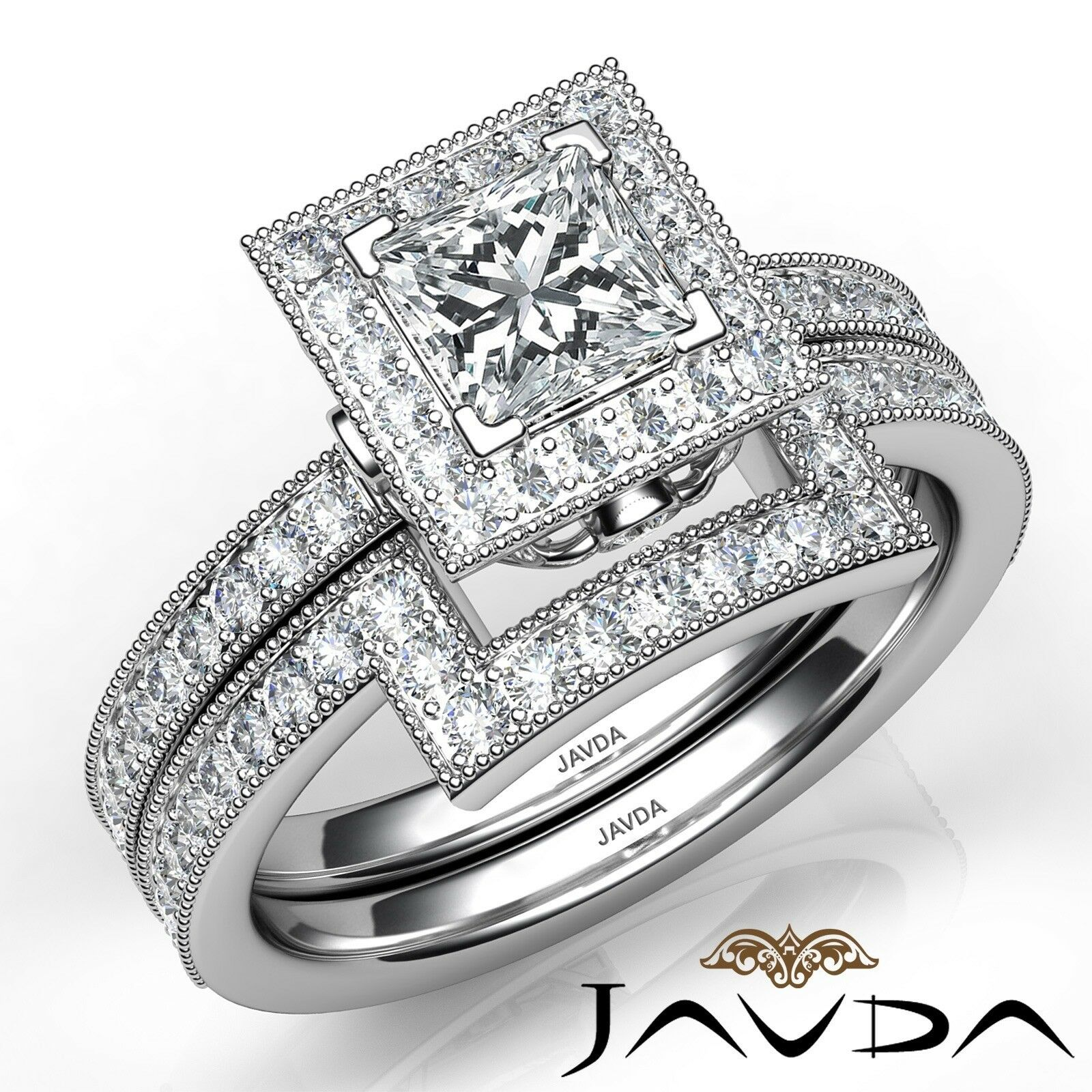 1.9ct Milgrain Edge Bridal Set Princess Diamond Engagement Ring GIA F-VS2 W Gold 1
