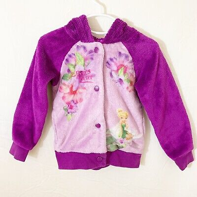 - Disney Fairies Toddler Girl Purple Fleece Hooded Tinkerbell Sweater Size 4T