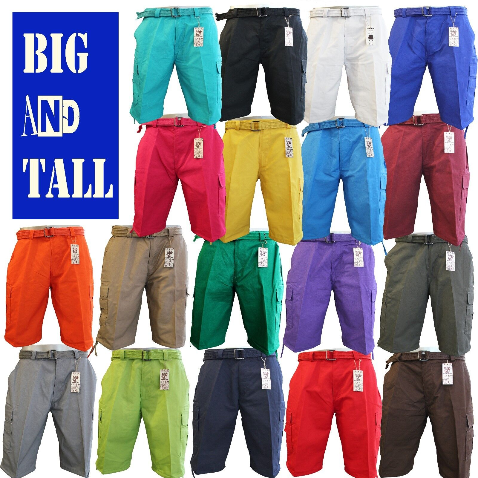 Men Big and Tall BTL Cargo Shorts With Belt Cotton Twill 18