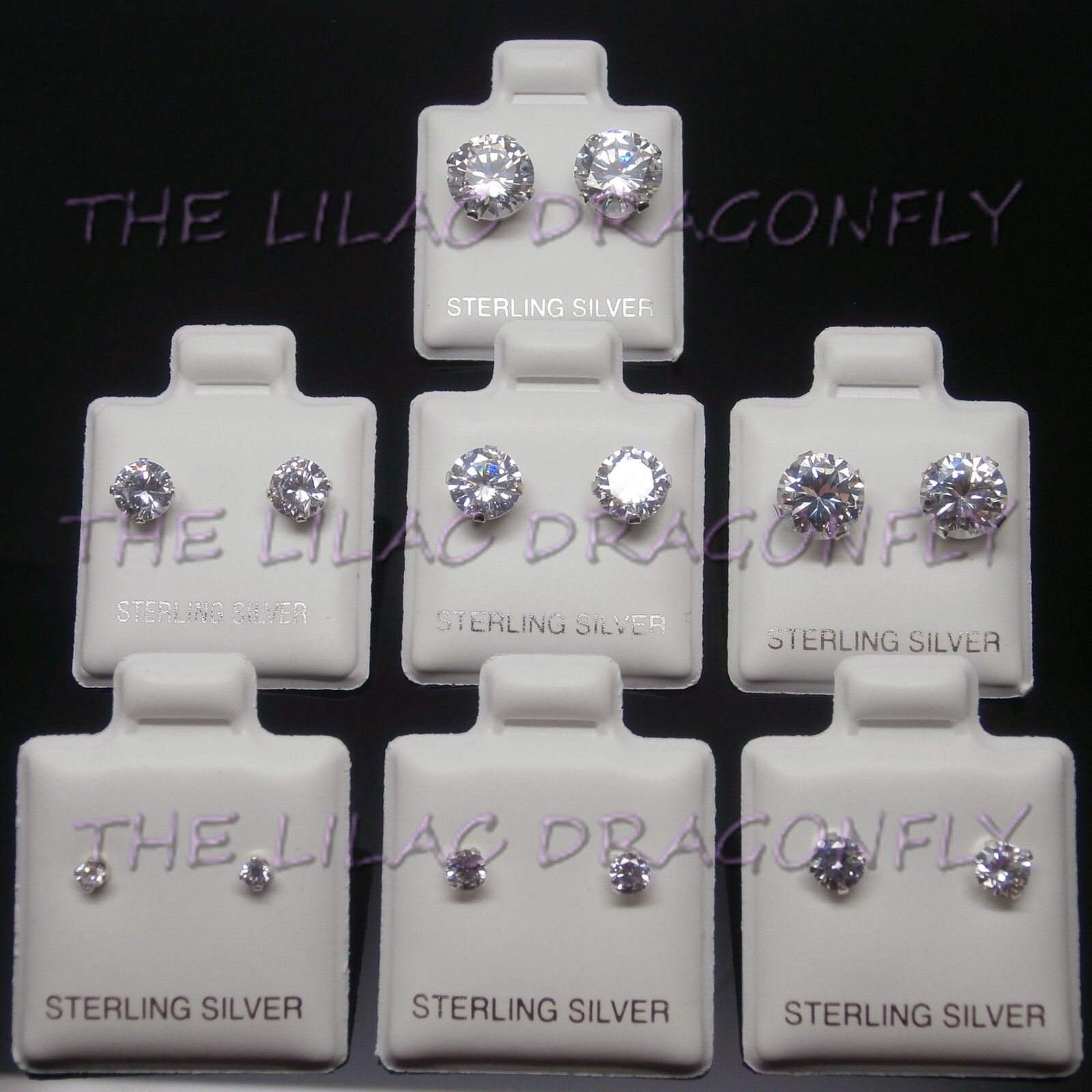 925 Sterling Silver Clear Round Diamante Created Diamond Stud Earrings 2-8mm UK