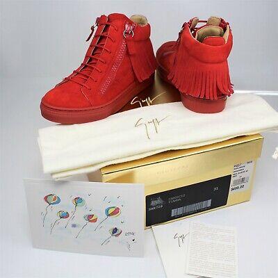 Giuseppe Zanotti Junior Camoscio Sneakers Hi Top Suede Fringe Zipper sz 31