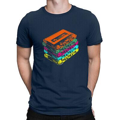 MIX TAPES Mens 80s Retro Cassette T-Shirt Rock Hip Hop Disco Dance C90 Music Top