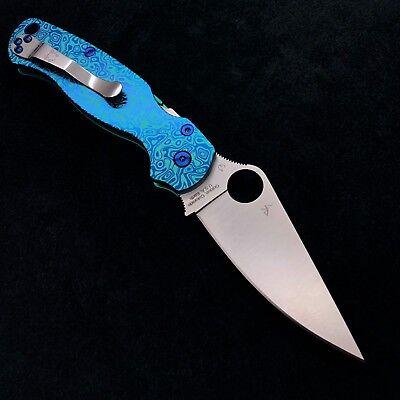 Spyderco Paramilitary 2 C81GP2 w/Custom Titanium Green & Blue Flomascus Scales