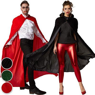 Samt Umhang Dracula Cape Damen Herren Kostüm Gothic Karneval Fasching Kapuze