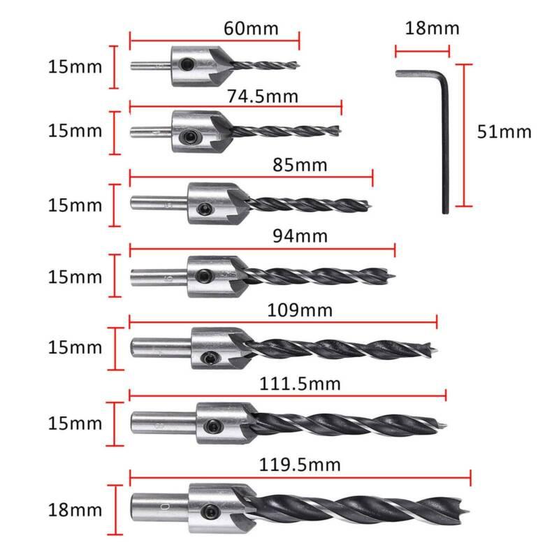 7 pcs Drill Bit Wood 5 Flute HSS Countersink Set 3 Carpentry 10mm BEST T3D5