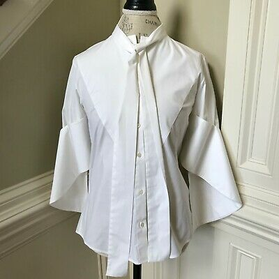Palmer Harding Poplin Bow Top Shirt Blouse Women's 2 Small White Button Front S