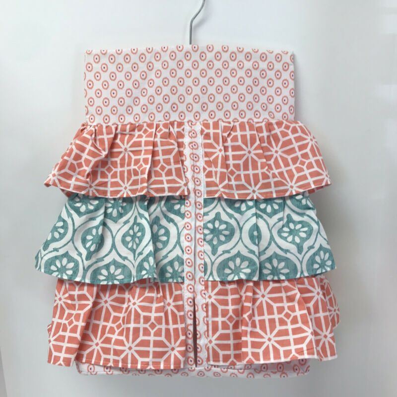 Levtex Baby Fiona Hanging Diaper Stacker, Coral and Teal.