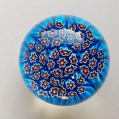 VINTAGE ART GLASS Blue Red MILLEFIORI PAPERWEIGHT