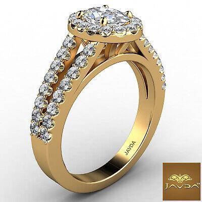 Halo Split Shank Oval Shape Diamond Engagement French Pave Ring GIA I SI1 1.47Ct 2