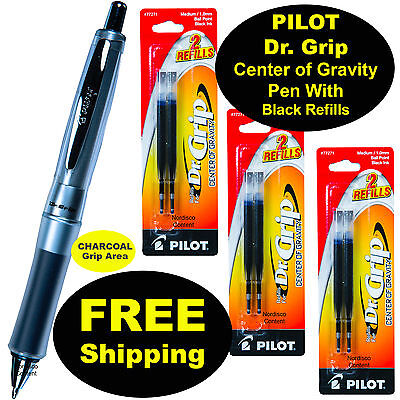 Dr Grip Center Of Gravity - Pilot Dr Grip Center of Gravity Pen With 3 Pk of Refills, Charcoal Grip, Blk Ink
