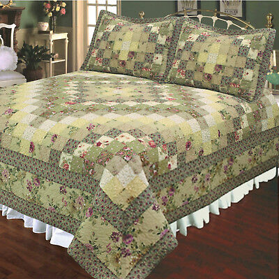 TRIP AROUND the WORLD  3p Full Queen QUILT SET : COUNTRY GREEN ROSE VINTAGE - Green Queen Quilt Set