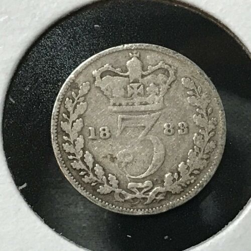 1883 GREAT BRITAIN SILVER THREE PENCE
