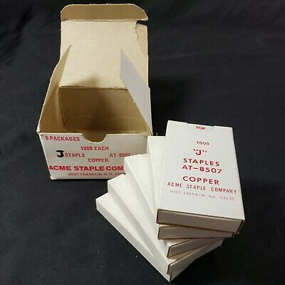 Vintage Acme At-8507 J Staples Copper 5000 Count Box New Old Stock Nos