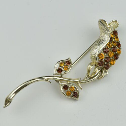 Vintage Coro Brooch Pin Tulip Flower Rhinestones Orange Amber