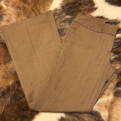 Tan Gold Flare (Heart Moon Star Woman's Dress Work Pants, Tan metallic Gold Stripe Flare Size 8 )