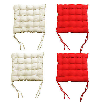Pack of 4 - 2 x Red plus 2 x Cream Kitchen Dining Chair Pad Cushion 38 x 38cm for sale  Shipping to Canada