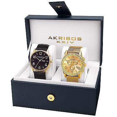 New Mens Akribos Xxiv Ak885yg Gold Tone Mesh Bracelet   Leather Strap Watch Set