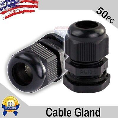 50 Pcs Pg13.5 Black Nylon Waterproof Cable Gland 6-12mm Dia W Lock-nut Gasket