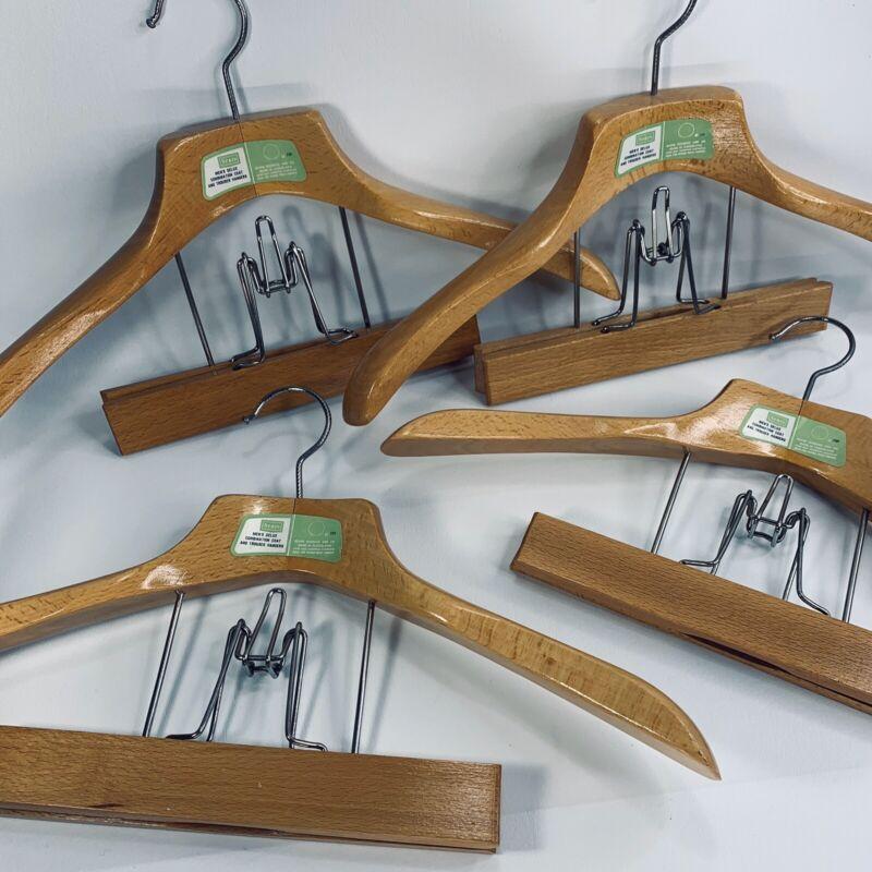 4 Vintage Wooden Heavy Duty Suit Coat Jacket Pants Trouser Clamp Clothes Hanger