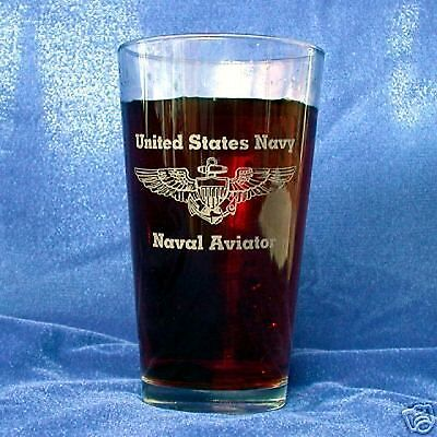 US Navy Naval Aviator 16oz etched Beer Glass set of (Naval Aviator Glasses)