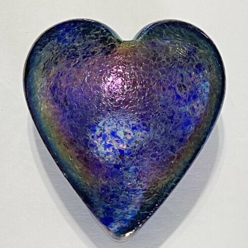 Robert Held Art Glass PURPLE Iridescent HEART Paperweight RHAG